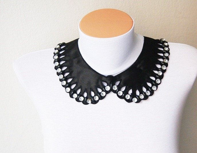 Swarovski Crystal Necklace -Free Shipping Special Black Applique rhinestone Necklace, Bridesmaid Accessories, Woman Applique #mom #gifts #trends #baby #boy #toy