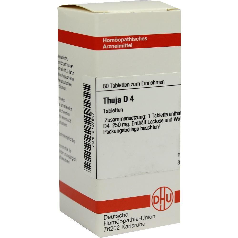 THUJA D 4 Tabletten Packungsinhalt 80 St Tabletten PZN