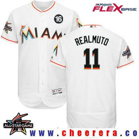 718b88432 Men s Miami Marlins  11 J.T. Realmuto White Home 2017 All-Star Jose  Fernandez Patch Stitched MLB Majestic Flex Base Jersey