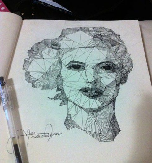Straight Line In Art : Funny pictures drawing using only straight lines