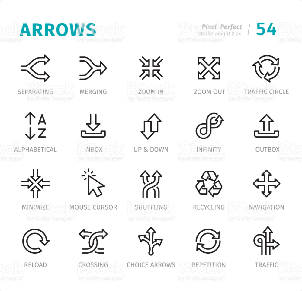 Arrows 20 Outline Style Single line icons with