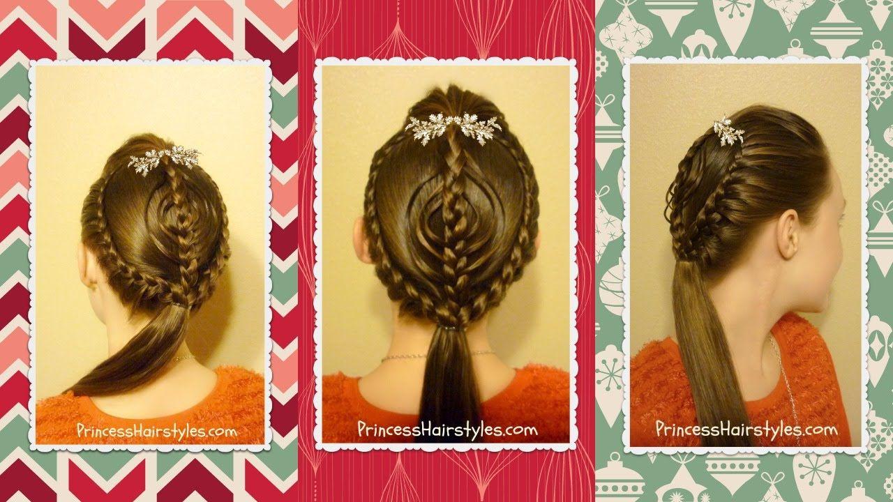 braided ornament hairstyle tutorial, christmas hair | coiffure