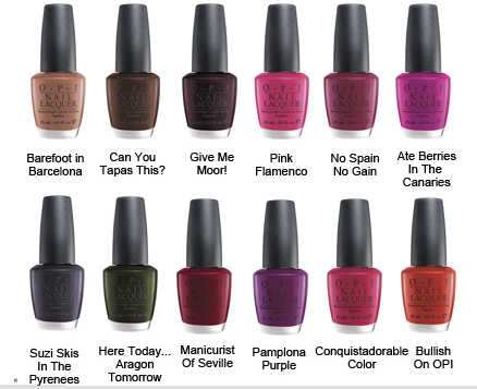 Opi Espana Collection Fall Winter 2009 Revisited Opi Nail Colors Opi Nail Polish Colors Opi Nail Polish Color Chart