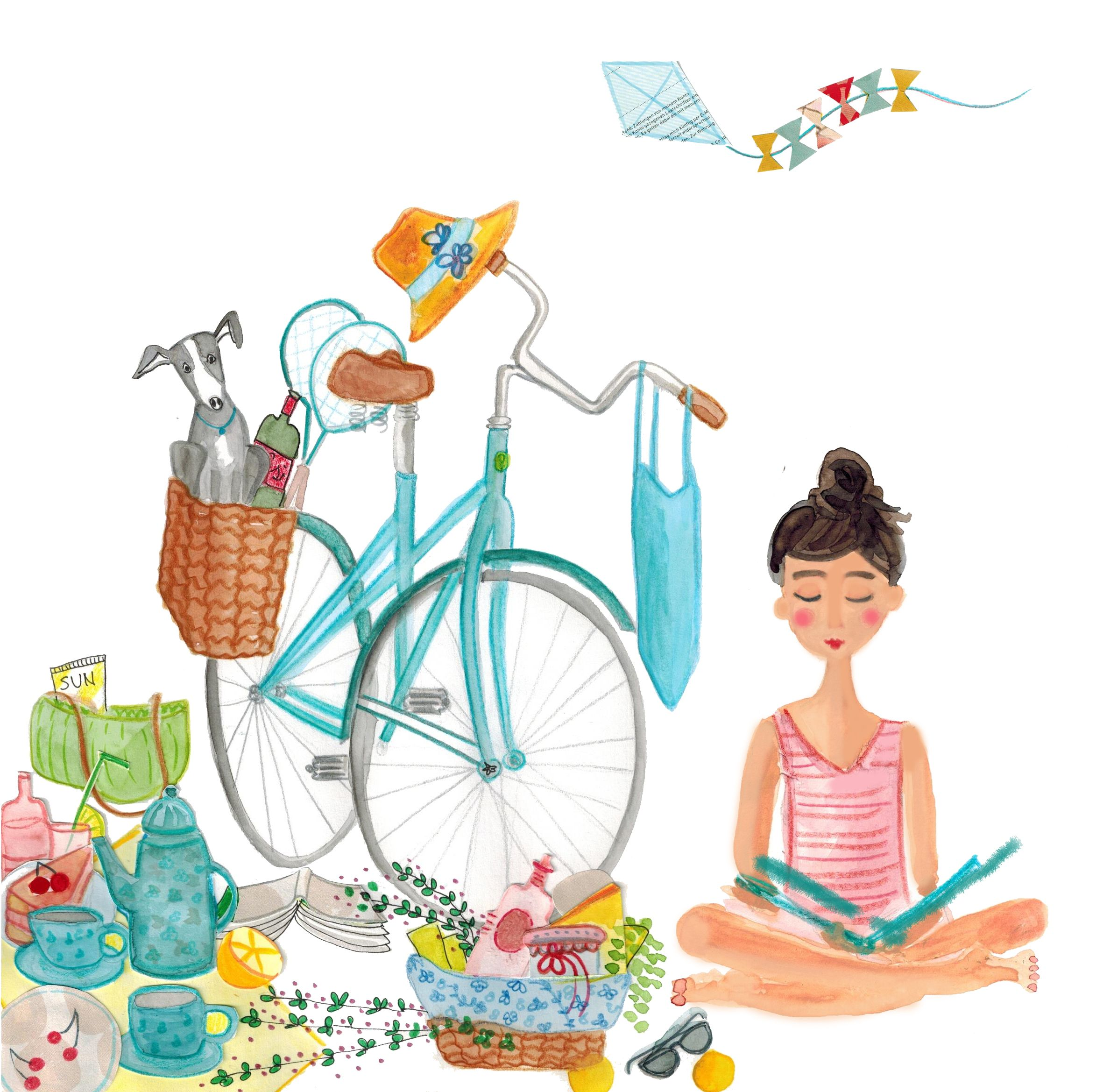 Illustration C Inka Hagen Die Gute Wal Productions Buchtage Picknick Am See Picknick At The Sea Bike Bicycle Woman Reading Reading Books Adventure D In 2020 See