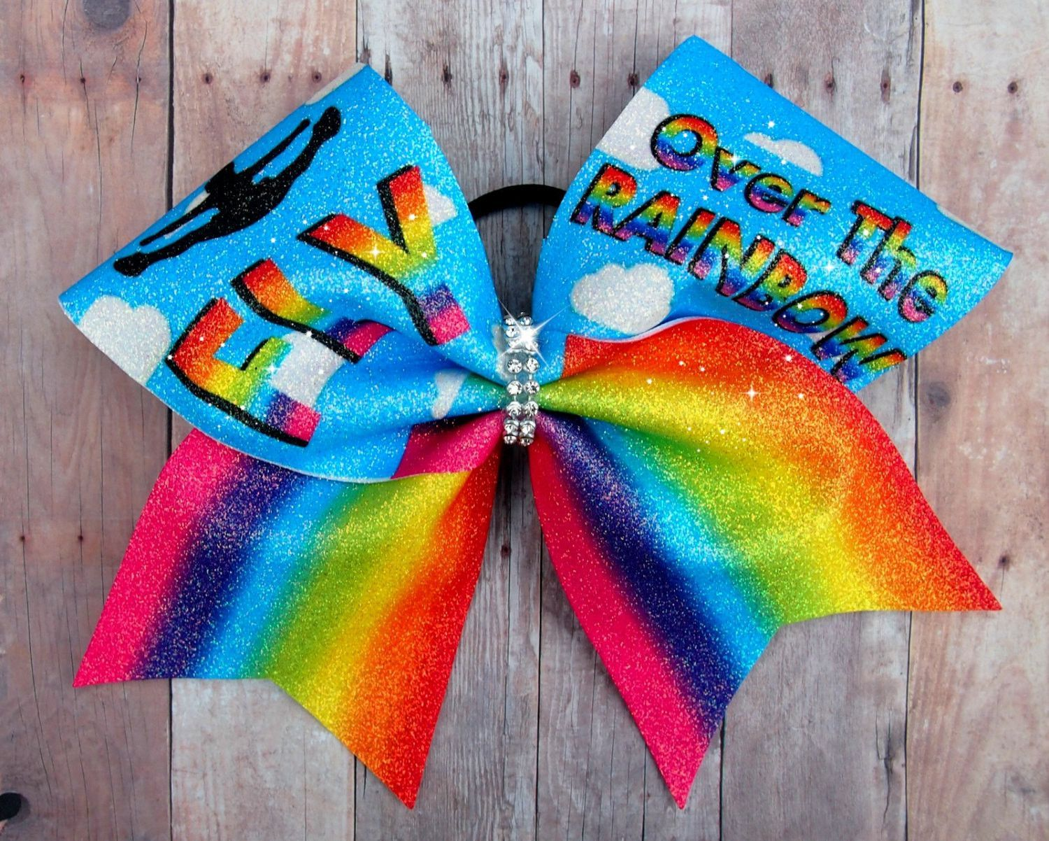 Cheer bow holder for cheer bows and hair bows cheer bow hanger - Fly Over The Rainbow Cheer Bow Gifts For Cheerleaders Competition Cheer Bow Glitter