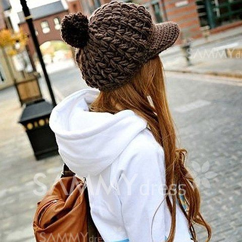 Fashion Fluffy Ball Embellished Solid Color Woolen Cap With Button For Women