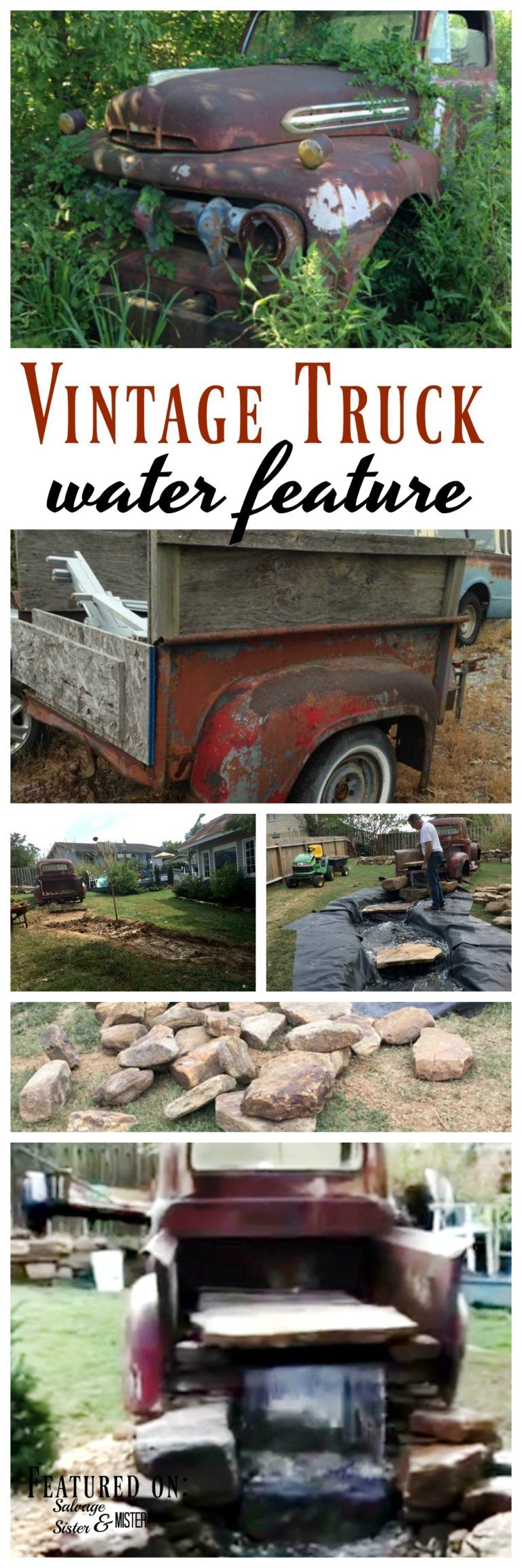 Vintage Truck Water Feature and Cottage #backyardoasis