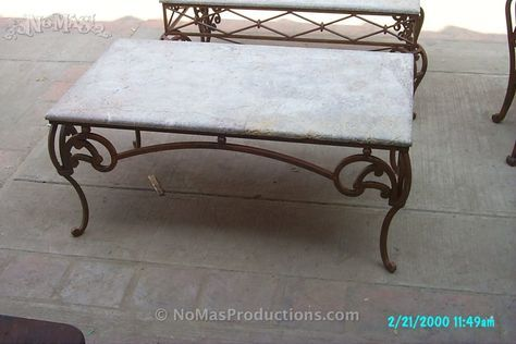 Coffee Table Wrought Iron With Travertine Marble Top No Mas Productions