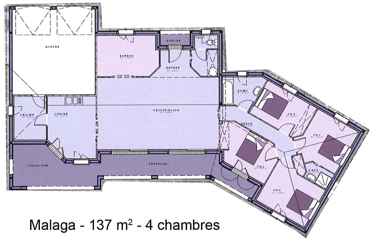 Plan Maison Plain Pied 3 Chambres Avec Garage Double Plan Maison Plain Pied 3 Chambres 110m2 Plan Maison Plan Maison