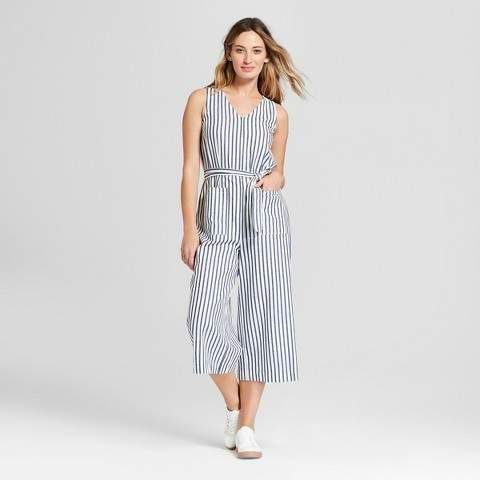 b80ed3ac3b Universal Thread Women s Cropped Stripe Jumpsuit - Universal Thread Navy  Stripe