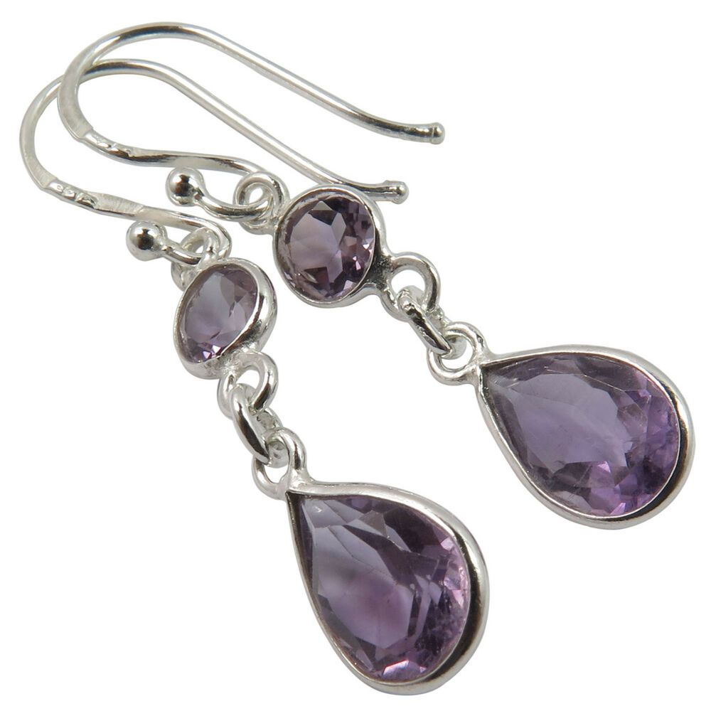 "925 Solid Silver PINK ROSE QUARTZ 3 Gemstone WOMEN/'S LONG Dangle Earrings 2.6/"""