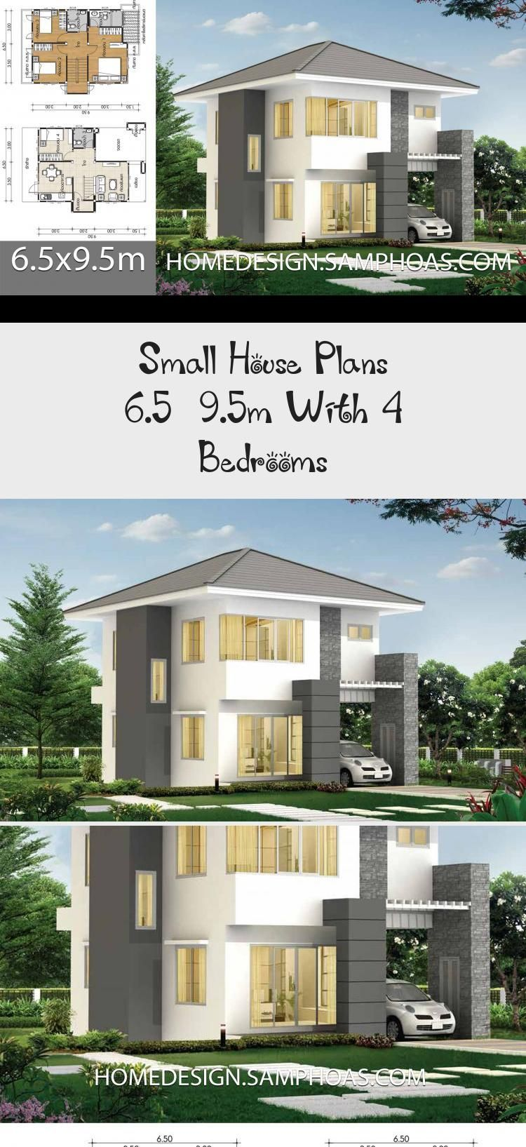 Small House Plans 6 5x9 5m With 4 Bedrooms Home Ideassearch Smallhouseplansmodern Smallhouseplanscabin Smallhous In 2020 Small House Plans House Plans Small House