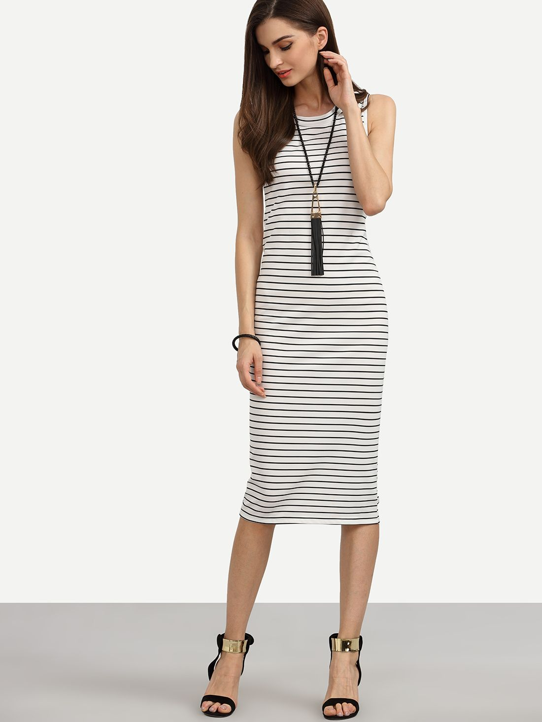 b55085d872 Shop White Striped Sheath Tank Dress online. SheIn offers White Striped  Sheath Tank Dress & more to fit your fashionable needs.