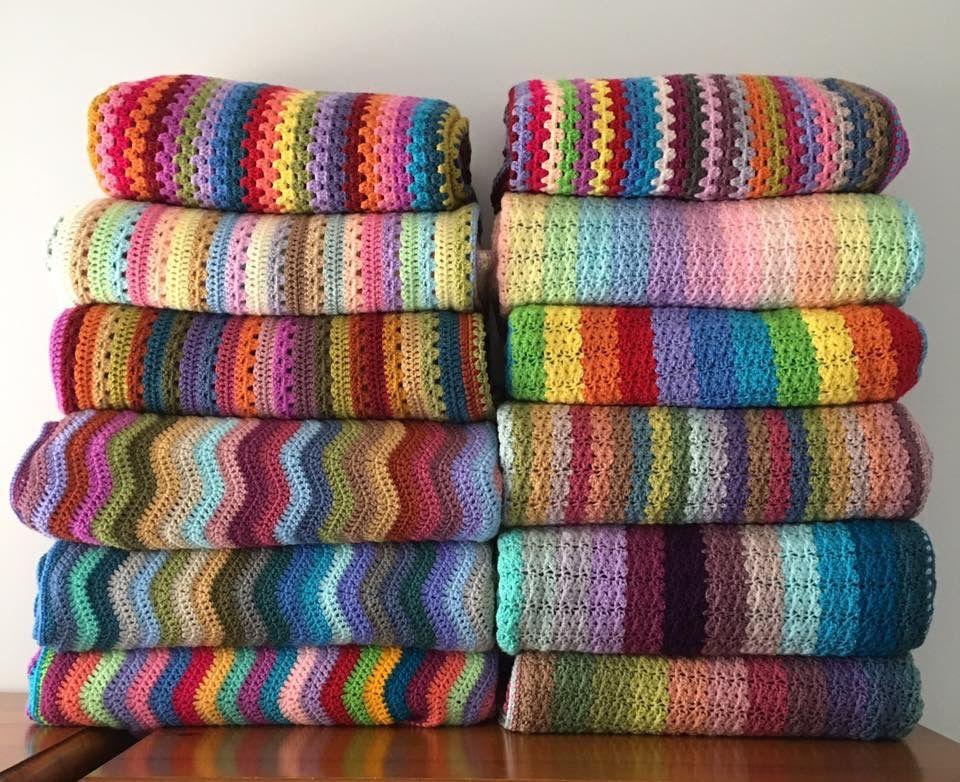 Helen Hayley S Stunning Pile Of Attic24 Design Blankets Very Impressive Crochet Ripple Blanket Crochet Shell Stitch Afghan Crochet Patterns
