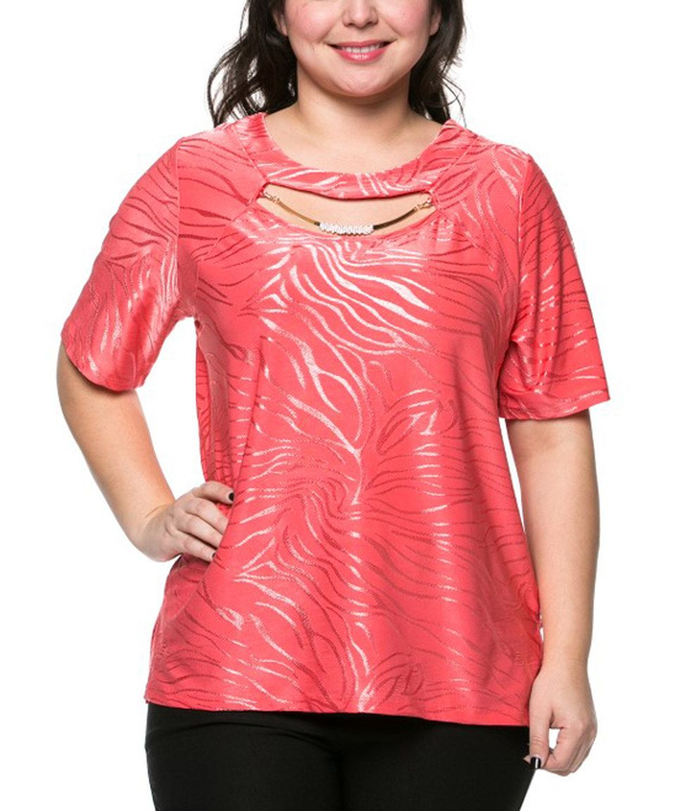 This Essential Collection Coral Shimmer Cutout Top - Plus by Essential Collection is perfect! #zulilyfinds