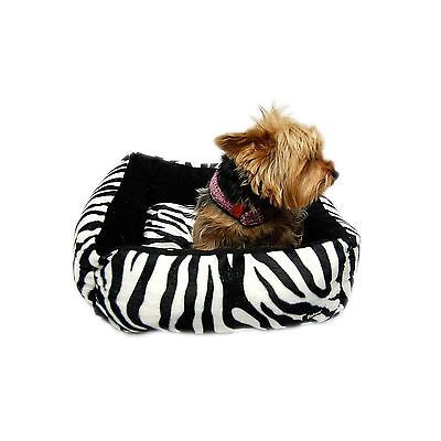 Black White Small Zebra Print Plush Bed For Dogs Cats Puppies Kittens Washable Zebraprintbedding Plush Dog Beds Zebra Print Bedding Dog Bed