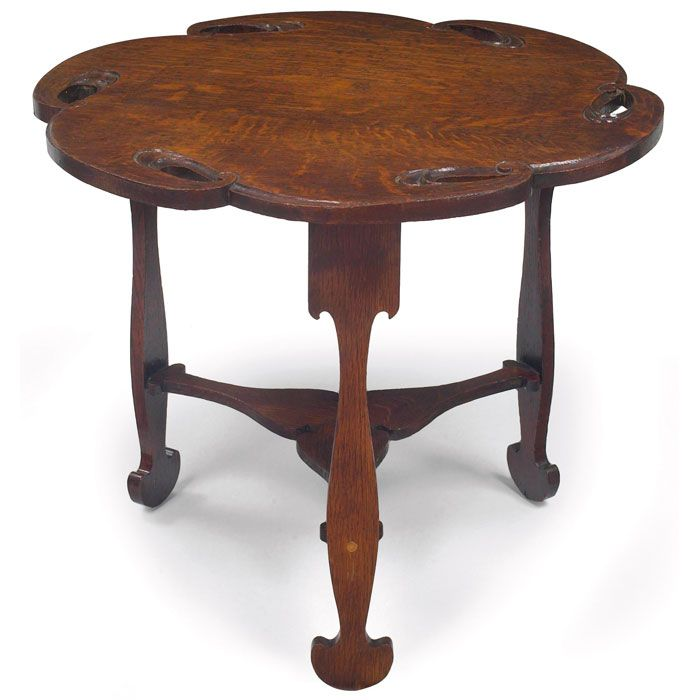 Charles Rohlfs (1853-1936) - Trefoil-Top Table  White Oak  Circa