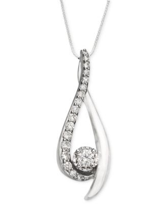 Diamond pendant necklace in 14k white gold 38 ct tw diamond pendant 14k white gold diamond drop 38 ct tw aloadofball Choice Image