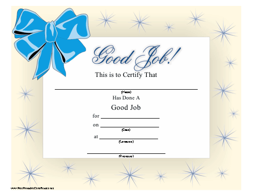 A printable certificate honoring a job well done with a sparkle a printable certificate honoring a job well done with a sparkle pattern and blue bow yadclub Choice Image