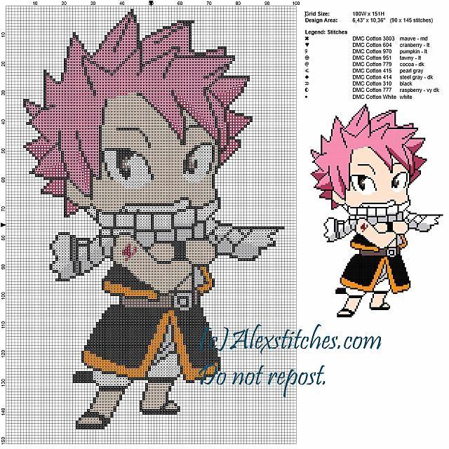 Natsu Fairy Tail Cross Stitch Pattern 100x151 10 Colors Free