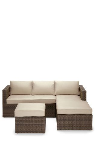 palermo rattan effect corner sofa set cover chenille fabric sectional sofas brown right hand garden pinterest