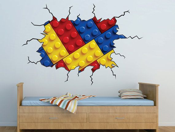 Legos in the wall  Kids Bedroom Vinyl Wall Decal by WallJems.
