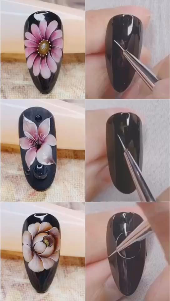 3 Handbeschilderde bloemnagelsideeën, eenvoudige nagels kunstontwerpvideo Tutorials Compilatie deel 44