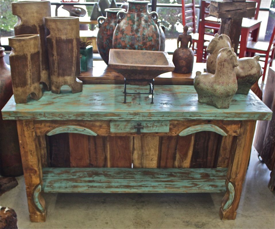 Reclaimed green and brown rustic console table 395 - Western couches living room furniture ...