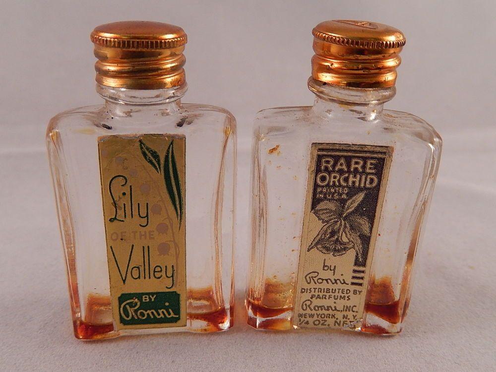 130f22d9206 2 Vintage Mini Perfume Bottles by Ronni Gold Caps