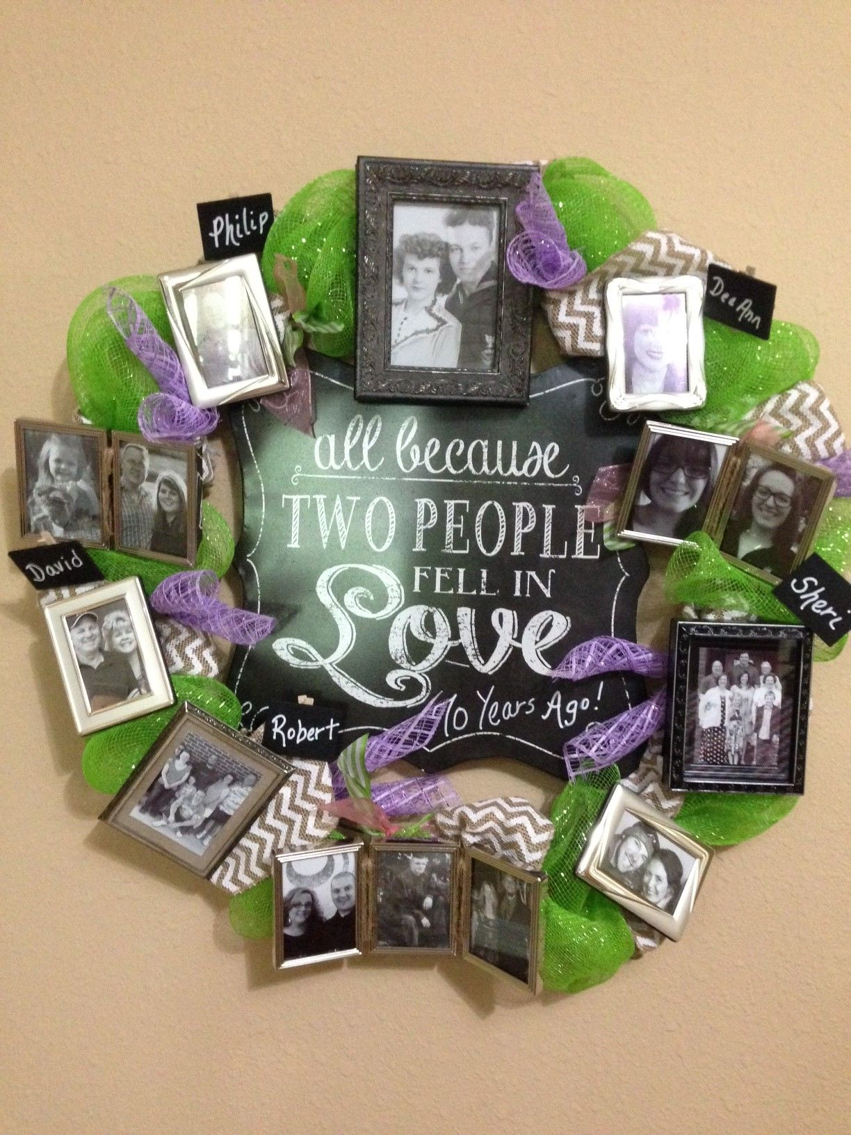 A wreath I made for my wonderful second parents' 70th