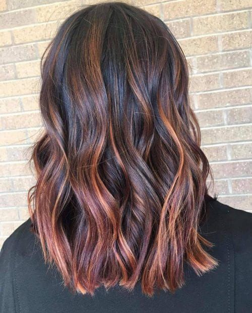 37 Best Red Highlights In 2020 For Brown Blonde Black Hair Balayage Hair Copper Balayage Brown Ombre Hair
