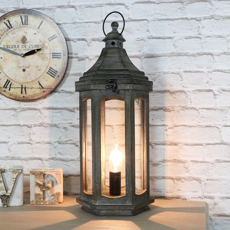 Antique Wooden Lantern Style Table Lamp Vintage Table Lamp Wooden Lanterns Lantern Table Lamp