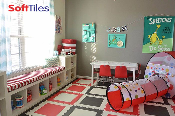 Dr  Seuss  Cat in the Hat  themed children s playroom using SoftTiles Die. Playroom Ideas  Cat in the Hat Playroom using SoftTiles Die Cut