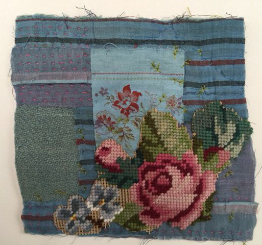 Unframed Textile Collage on to very old and worn by MandyPattullo