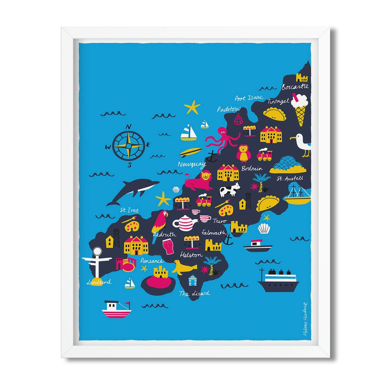 Cornwall Portrait Map Print | Cornwall map, Map print ...