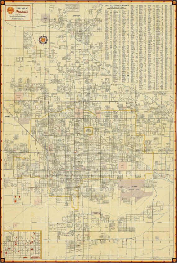 A Map Of Phoenix Arizona.Old Phoenix Map Vintage Phoenix Arizona Map Antique Restoration