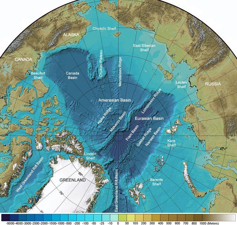 Arctic Ocean Seafloor Features Map International