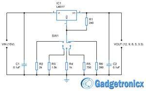 12v 9v 6v 5v & 3 3v multiple voltage power supply circuit computer power supply schematic 12v 9v 6v 5v & 3 3v multiple voltage power supply circuit