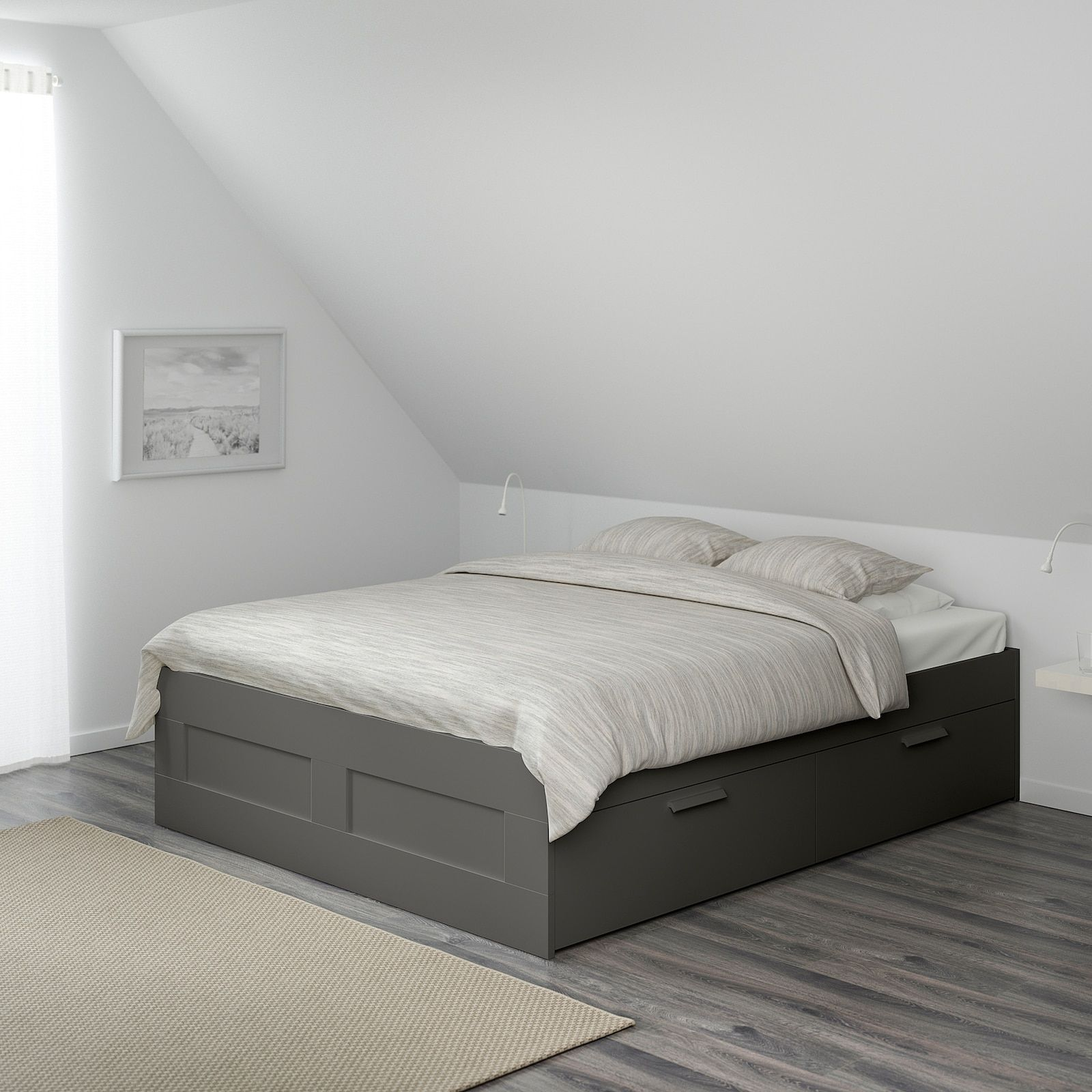 Brimnes Bed Frame With Storage Gray King Ikea In 2020 Bed Frame With Storage Grey Bed Frame Bed Frame