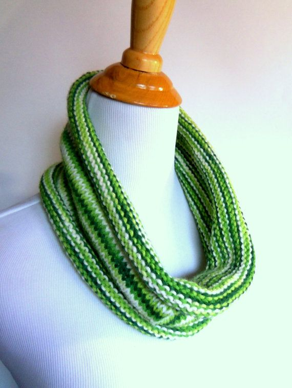 handknit cowl in spring and grass green stripe by kateydidhandmade, $17.50