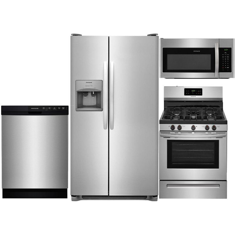 Frigidaire 4 Piece Gas Kitchen Appliance Package With Side By Side