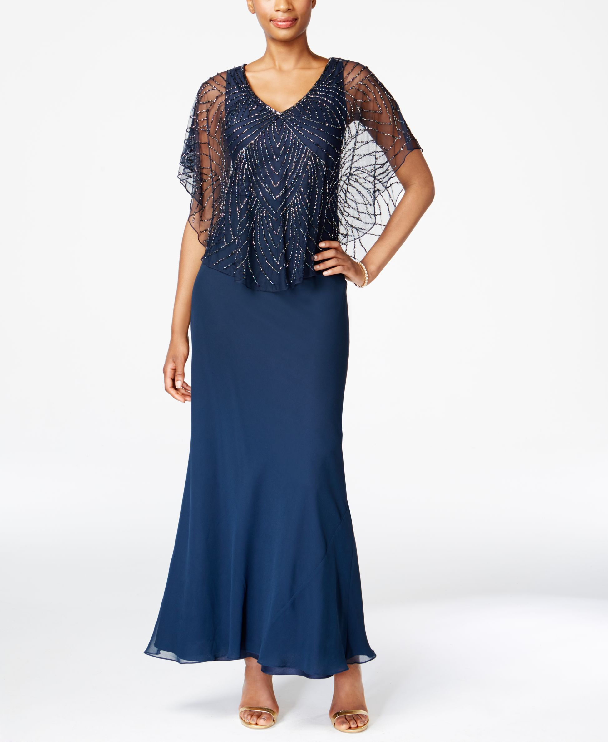 J Kara Beaded V-Neck Capelet Gown | Products