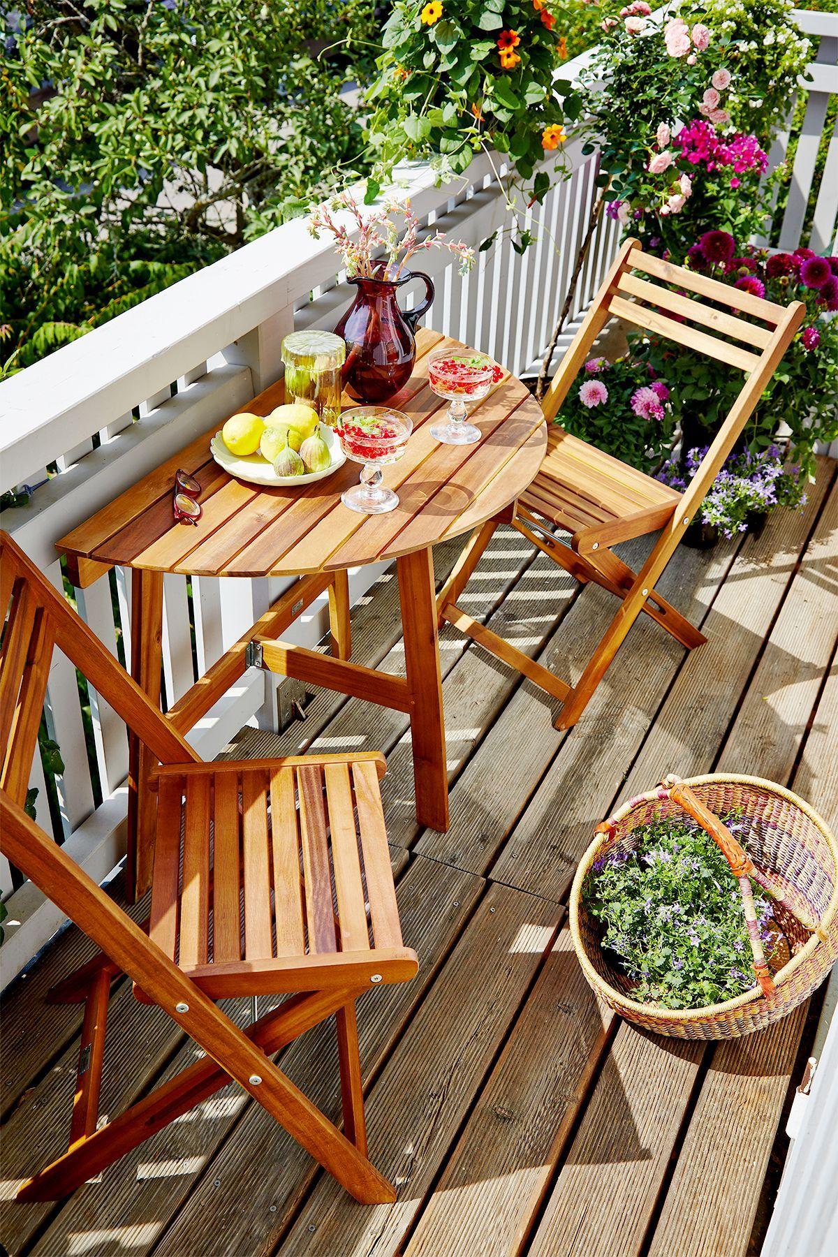Balkon-Set mit halbrundem Tisch