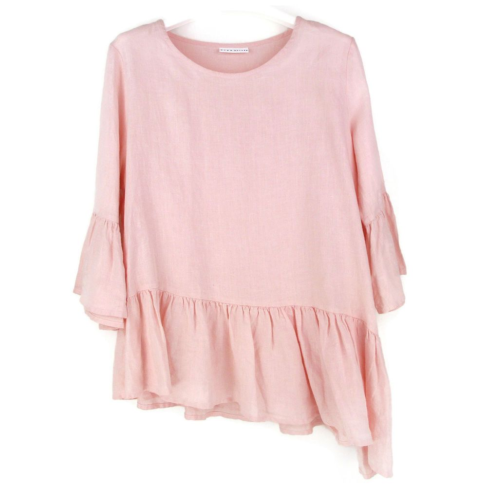 ccd4344397 Bryn Walker Linen Tunic Top Size Large Womens L Pink Franci Shirt  Asymmetrical  BrynWalker  Blouse  Casual