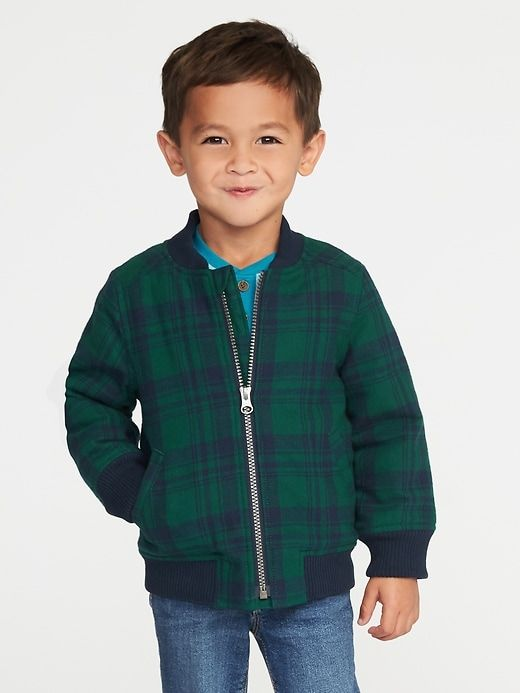 9f32e8dac Sherpa-Lined Plaid Flannel Bomber Jacket for Toddler Boys
