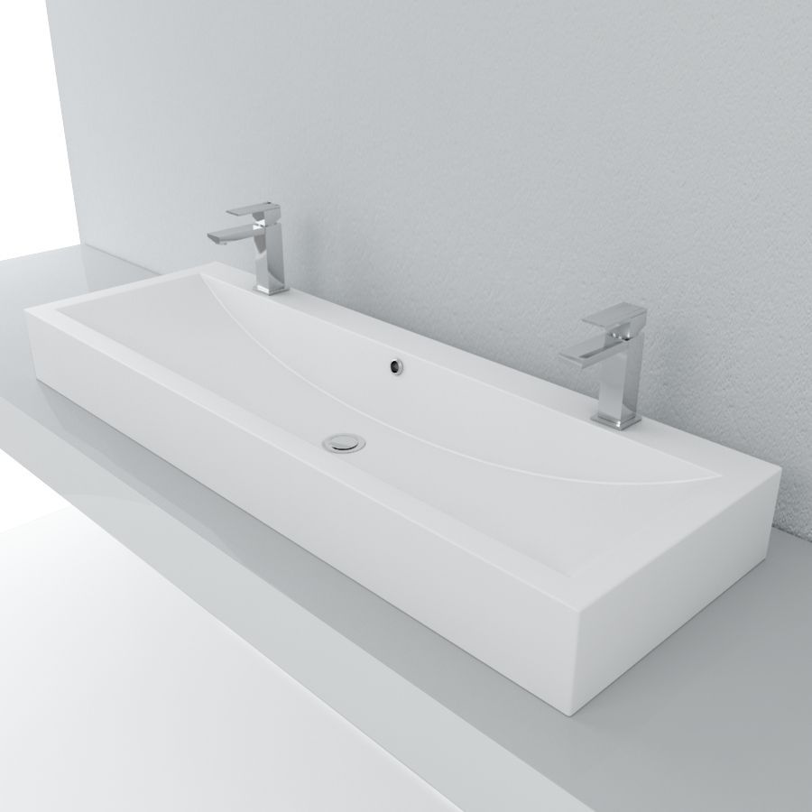 Cantrio Double Soild Surface Trough Vessel Sink MMA-604 | Bathroom ...