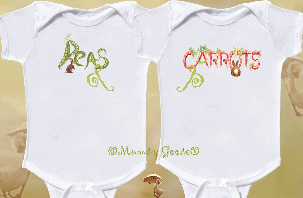 e5f0a6b86 Peas and Carrots Twin Onesies by Mumsy Goose NB -24M. $28.00, via Etsy.