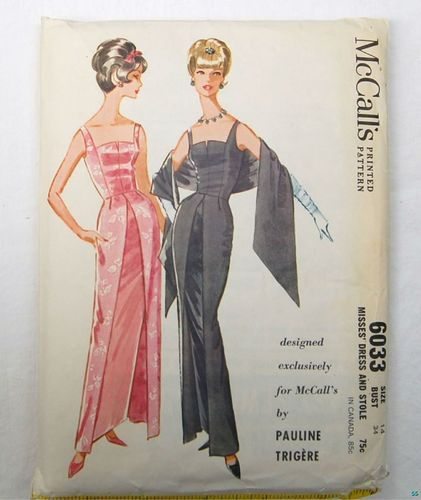 Vintage Pattern McCalls 6033 60's Beautiful EVENING DRESS Pauline Trigere Size 14/34 sold 9/1/13 for 66.88+2.5 complete