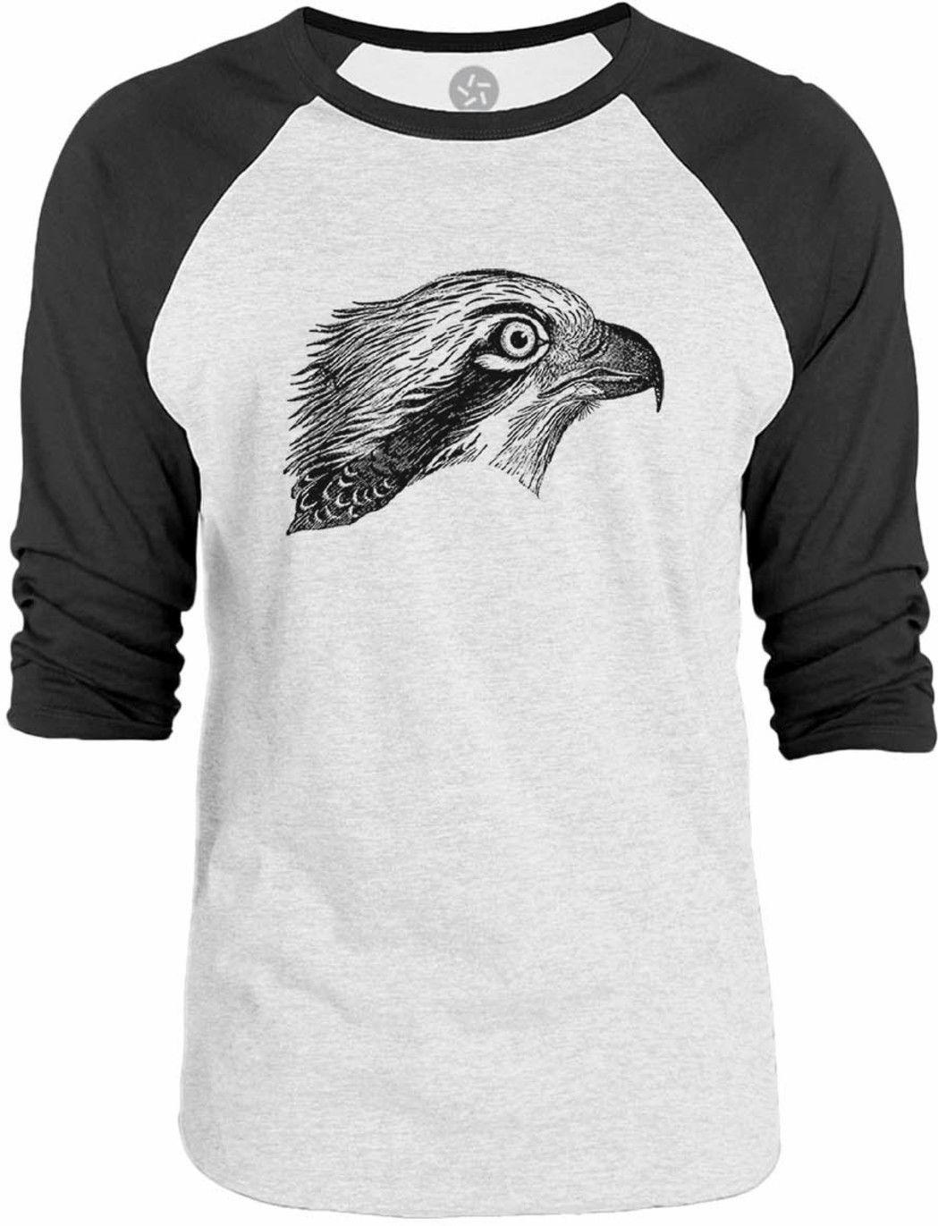 Big Texas Hawk Face 3/4-Sleeve Raglan Baseball T-Shirt