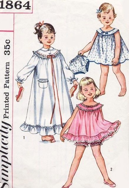 SWEET 1950s Girls Nightgown, Baby Doll Shortie PJs with Panties ...